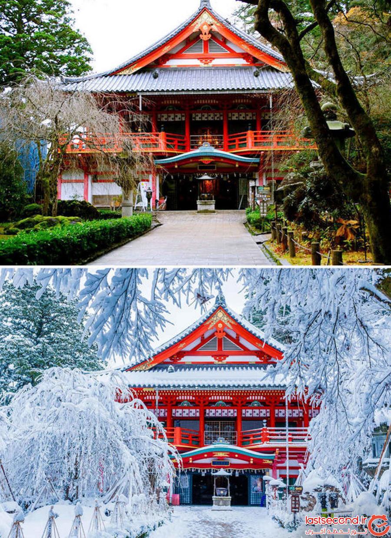 مناظر طبیعی قبل و بعد از بارش برف