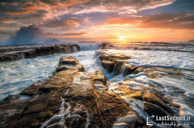 کیاما، خط ساحلی دیدنی و منظره تماشایی پاشیدهشدن آب به هوا